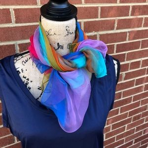 ⚜️ Beautiful, Brightly Colored 100% Silk Poncho